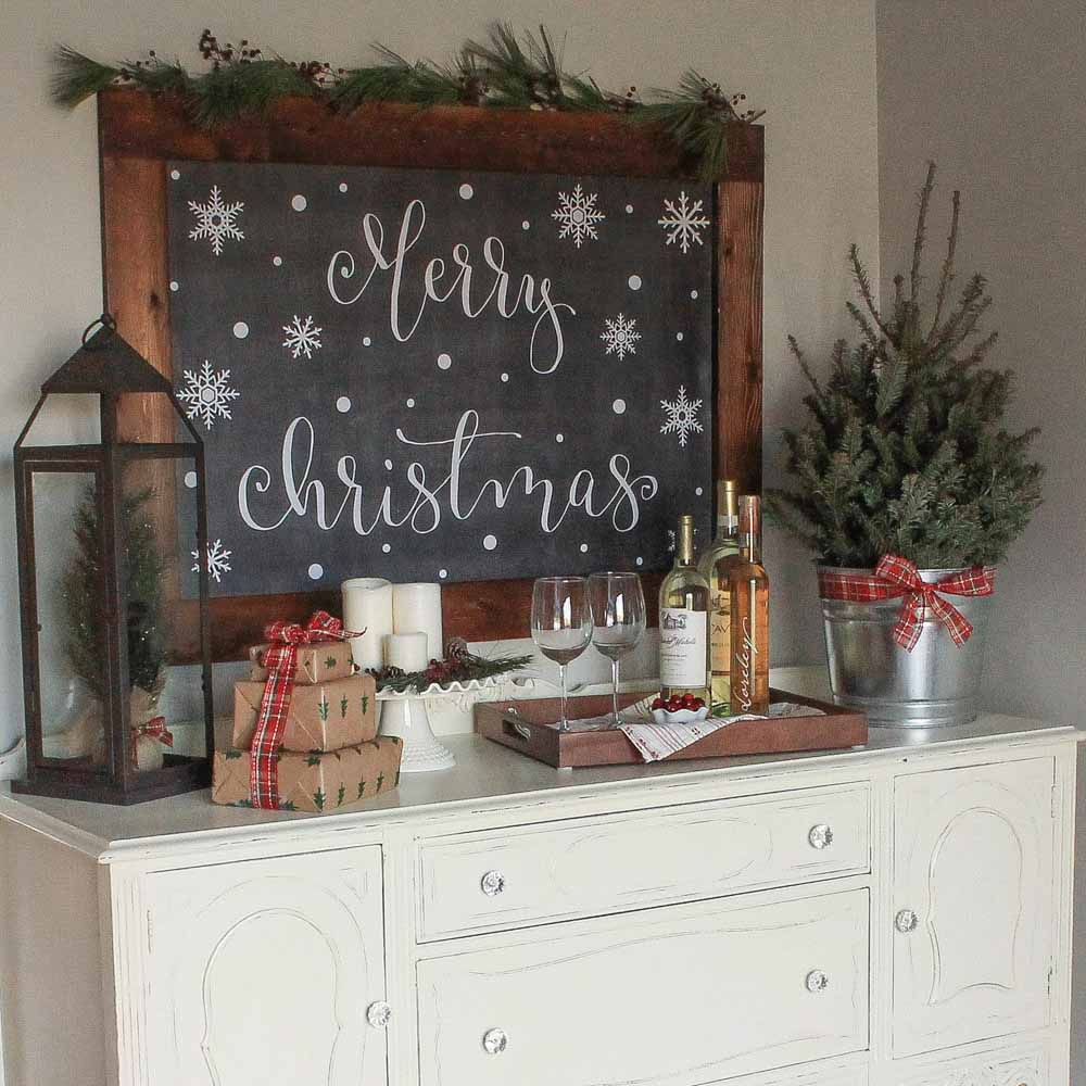 Cozy Christmas Kitchen Wine Nook