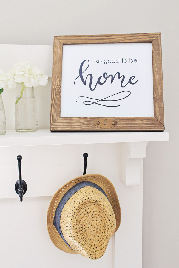 DIY hall tree shelf with so good to be home printable in a wood frame