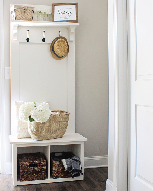 White Entryway DIY Hall Tree Bench next to the front door