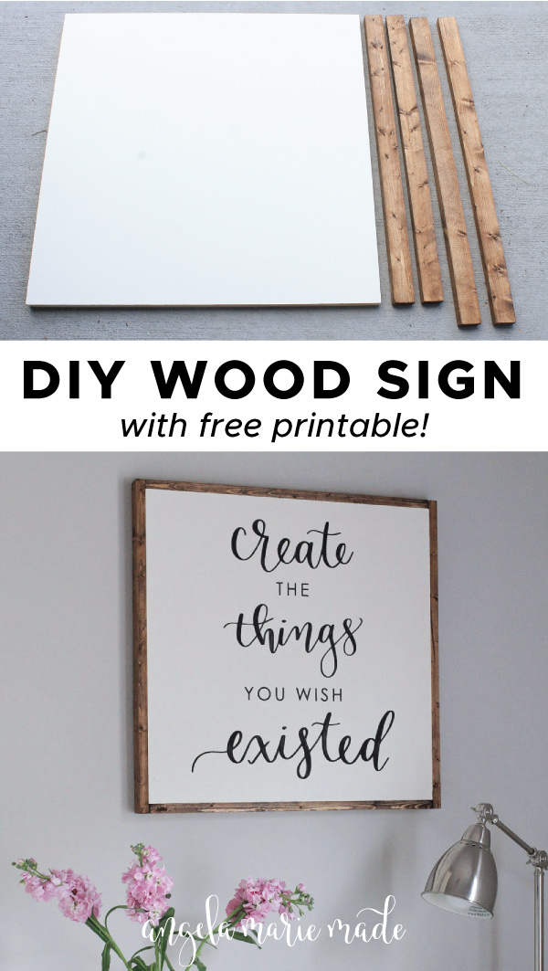 how to make a DIY wood sign with painted wood sign and stained frame boards