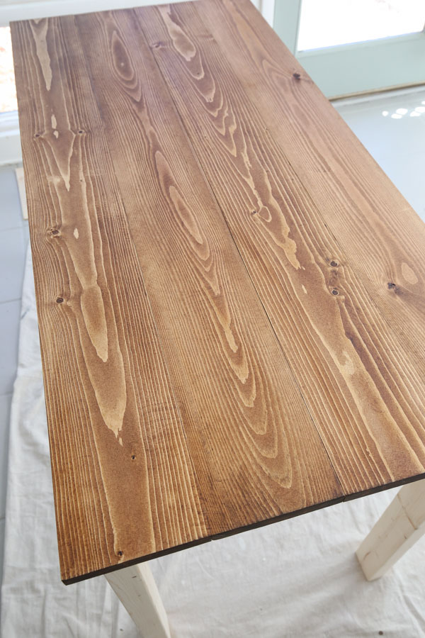 first coat of wood stain applied and waiting for wood stain to dry