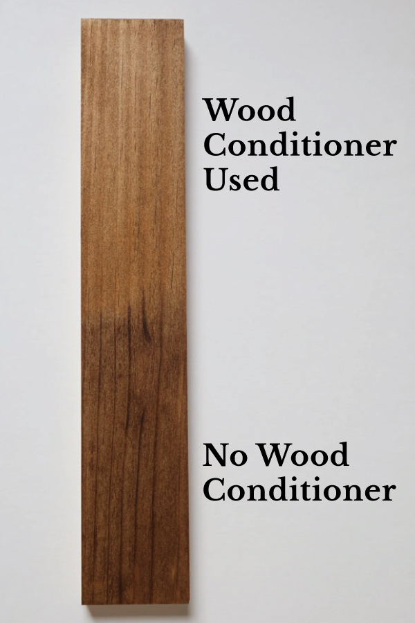 stained wood with wood conditioner versus stained wood with no wood conditioner and blotches