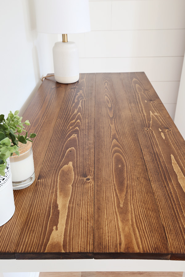 how to stain wood on a table top