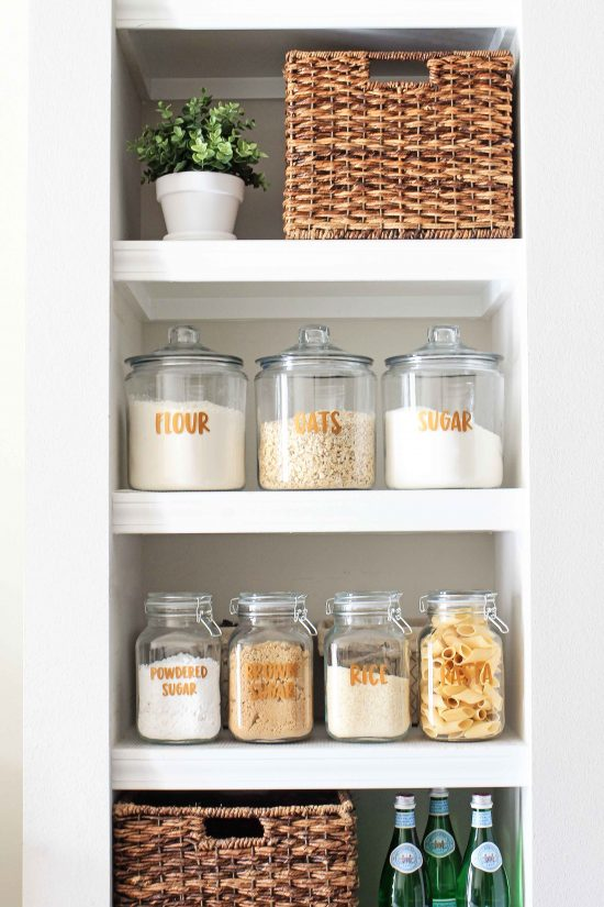 DIY Pantry Labels and Open Pantry Shelving