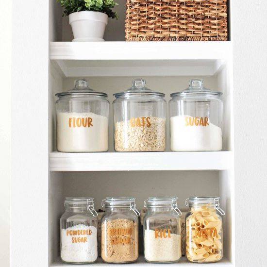 DIY Pantry Labels and Open Pantry Shelves