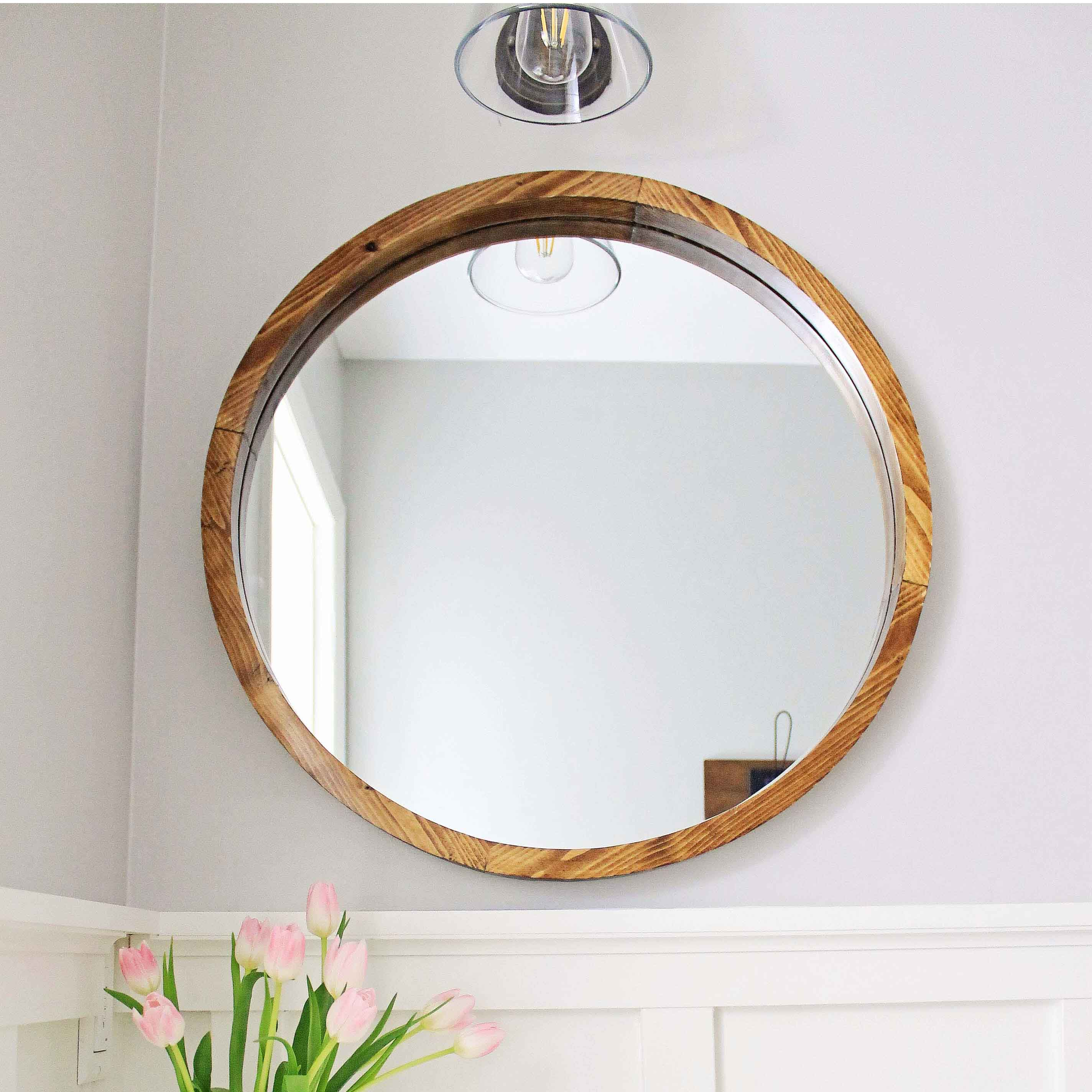 Round wood mirror diy angela marie made for Circle mirror
