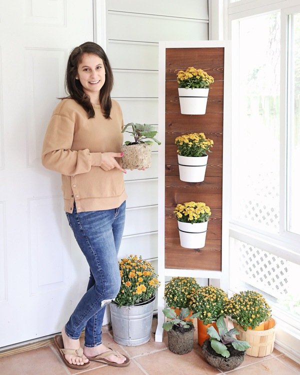 vertical planter stand DIY with mums