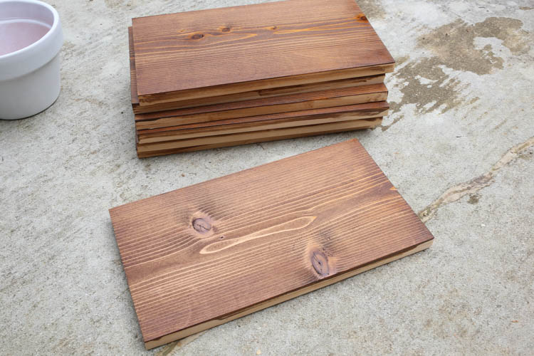 stained cedar wood boards for back of planter
