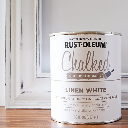 Can of rustoleum chalked paint linen white