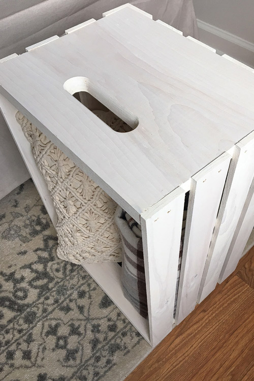 Wood Crate Side Table with whitewash paint finish