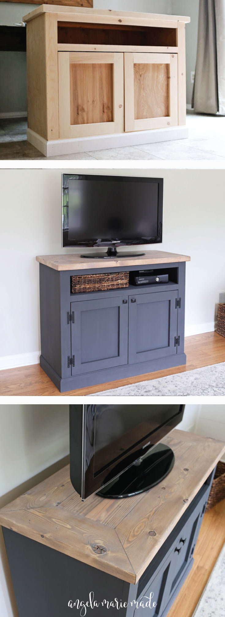diy rustic tv stand media console pin1a angela marie made. Black Bedroom Furniture Sets. Home Design Ideas
