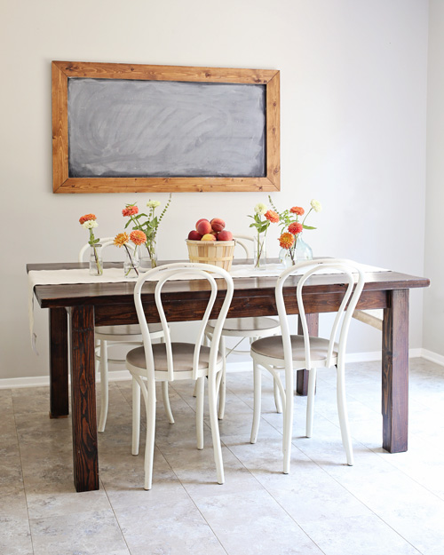 Peach Summer Tablescape Farm Table