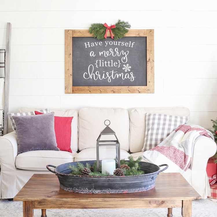 Rustic christmas living room decor angela marie made for Angela decoration