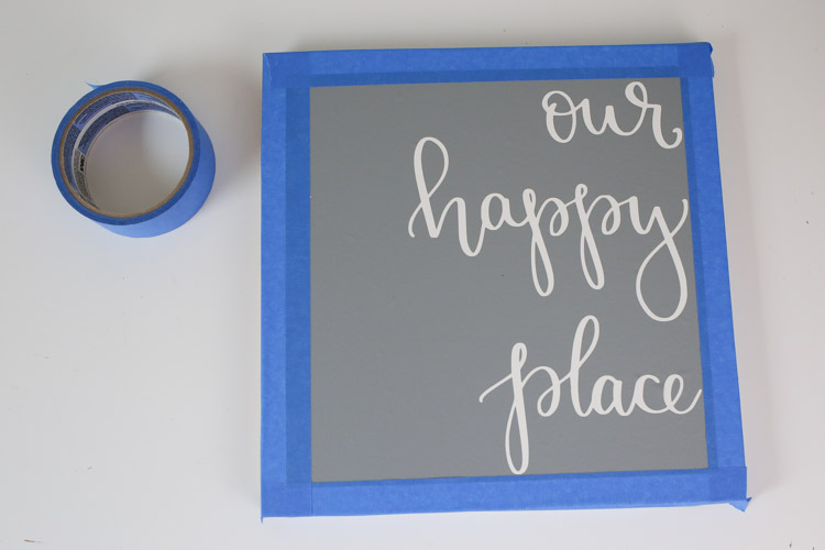 wood sign with taped edge