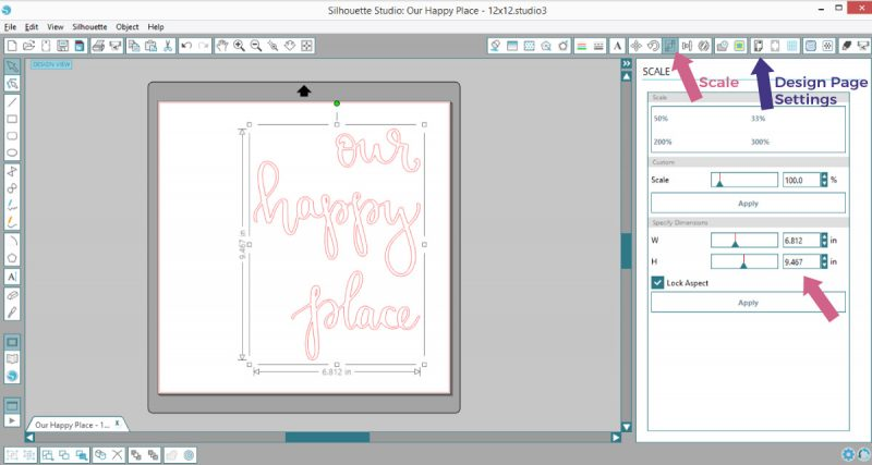 How to resize decal design in Silhouette Studio