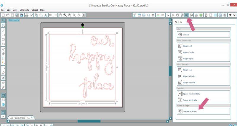 center square trace line around design in Silhouette Studio