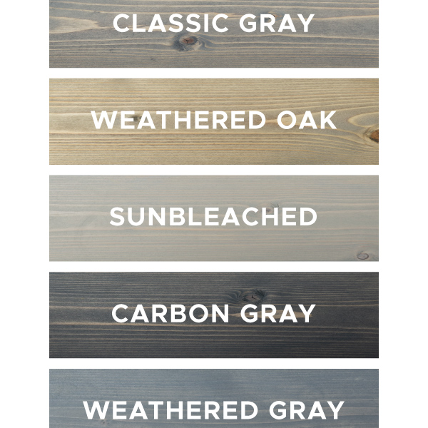 5 gray wood stain options on pine wood