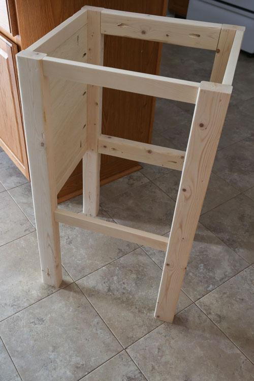 Partially built DIY wood vanity