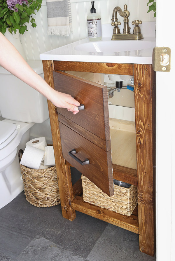 Diy Bathroom Vanity For 65 Angela, How To Build A Bathroom Cabinet With Drawers
