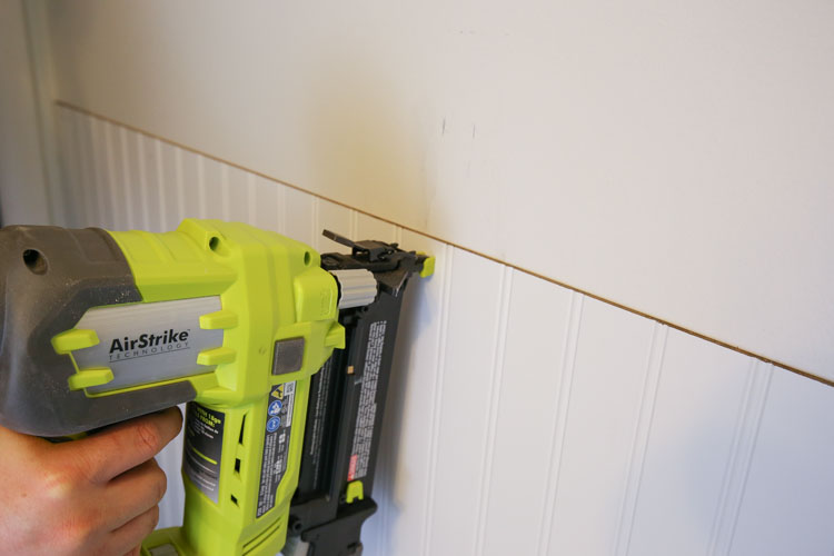Attaching beadboard to wall with a brad nailer