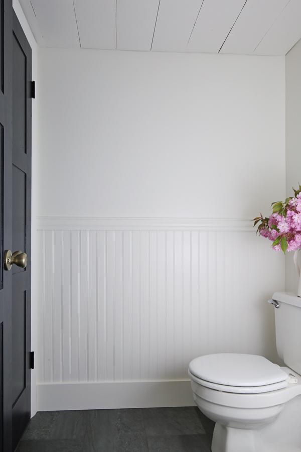 Beadboard bathroom wall