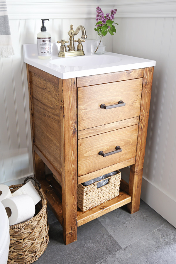 DIY bathroom vanity with minwax early american stain