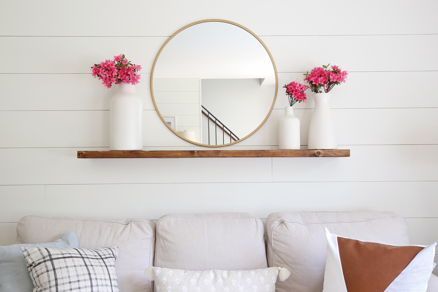 Easy DIY floating shelf with brackets on wall