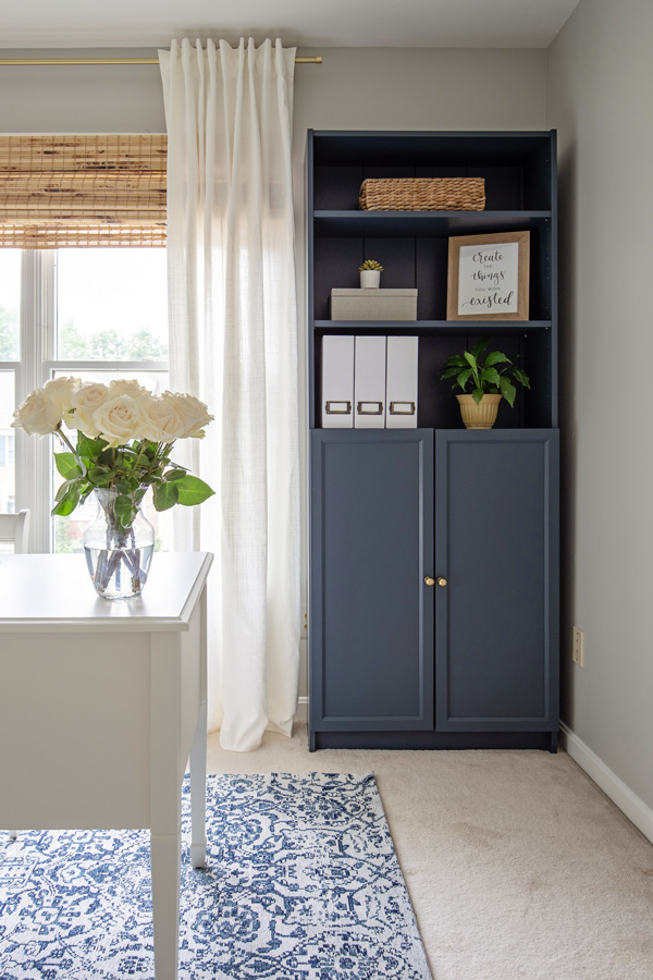 navy and grey pretty office makeover reveal