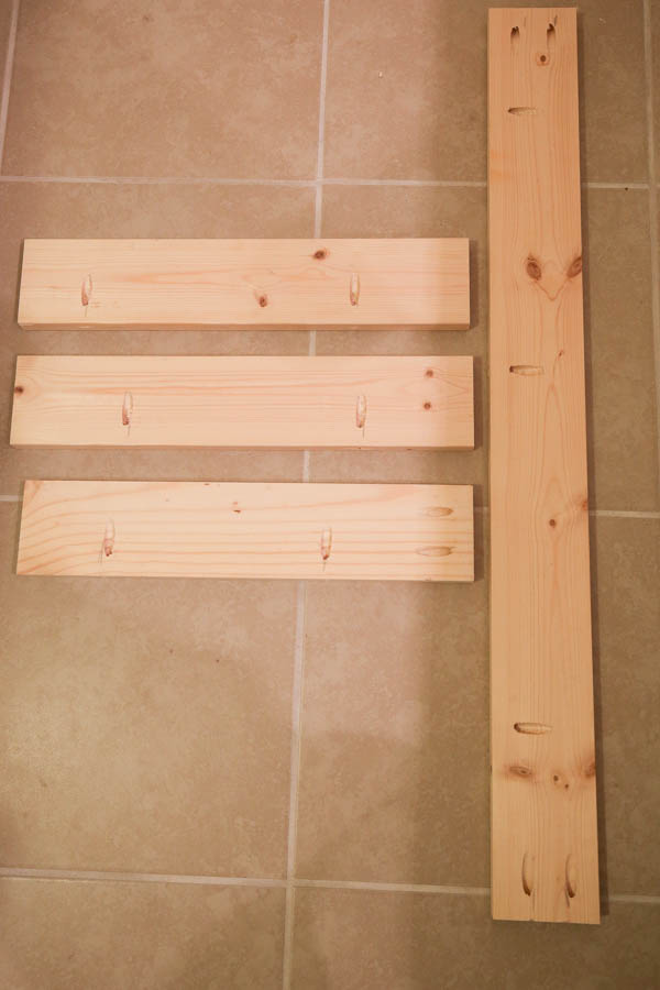 Wood boards with pocket holes ready for makeeup vanity assembly