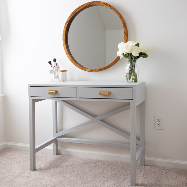 DIY makeup vanity painted light with brass handles