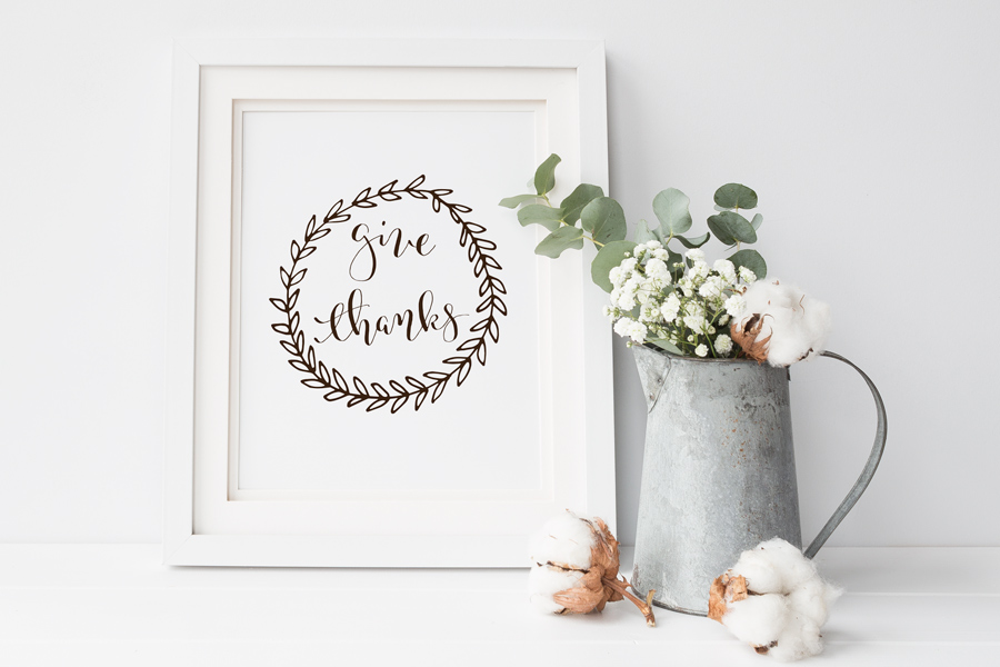 Give Thanks Free Thanksgiving Printable in a picture frame with a pitcher of cotton and greenery