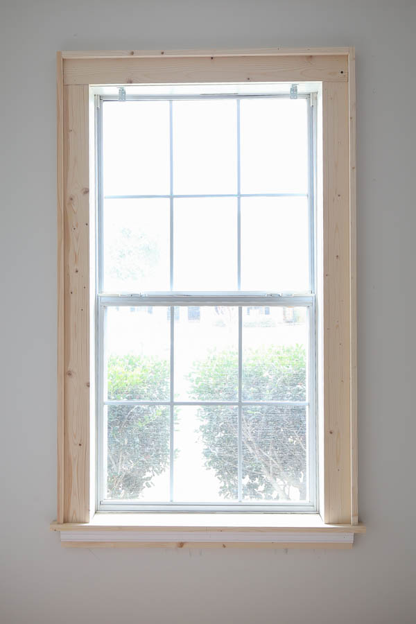 DIY window trim added to window and ready for paint