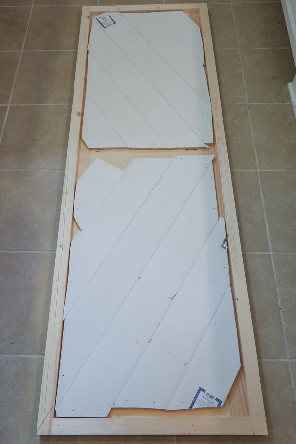 the back of the DIY barn door for entertainment center showing how it was constructed