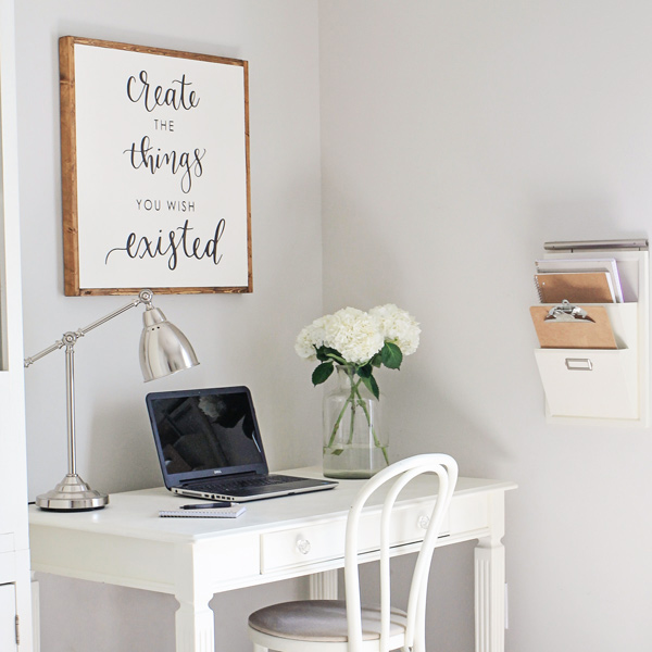 blogger's desk and office setup