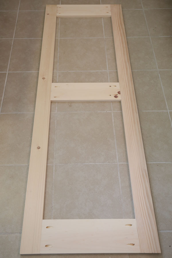 Attaching barn door frame together with pocket holes