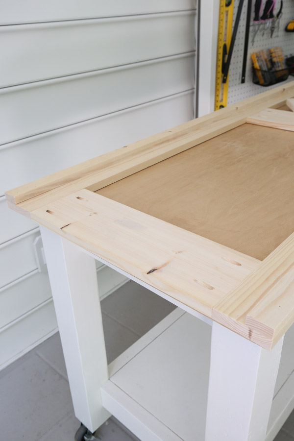 building the barn door frame with 1x2s installed on 1x6s