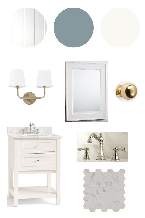 classic and coastal master bathroom design plan mood board
