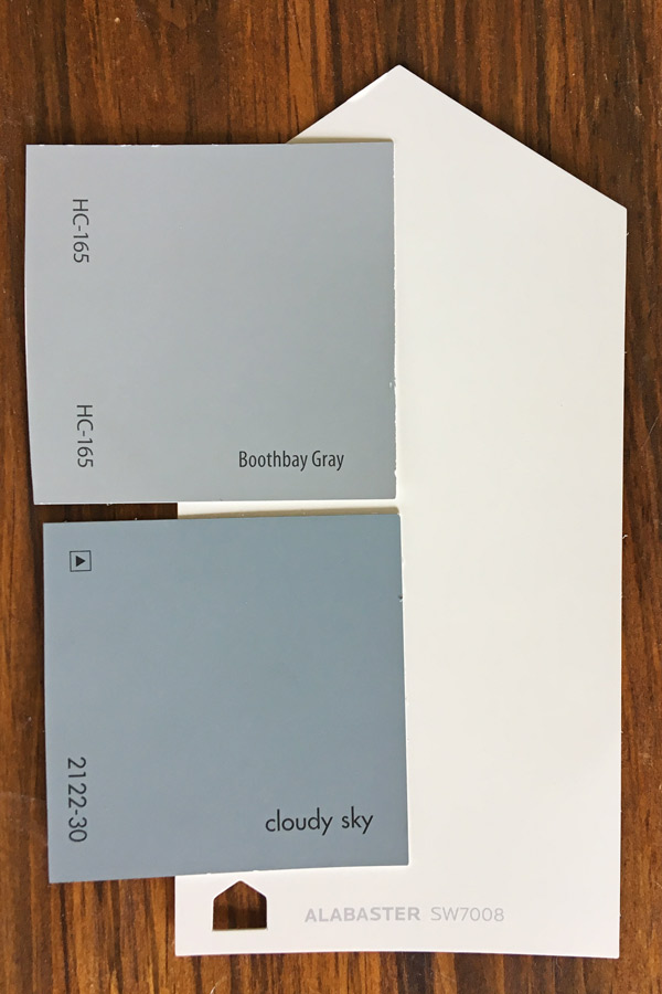 Boothbay Gray and Cloudy Skies benjamin moore paint swatches