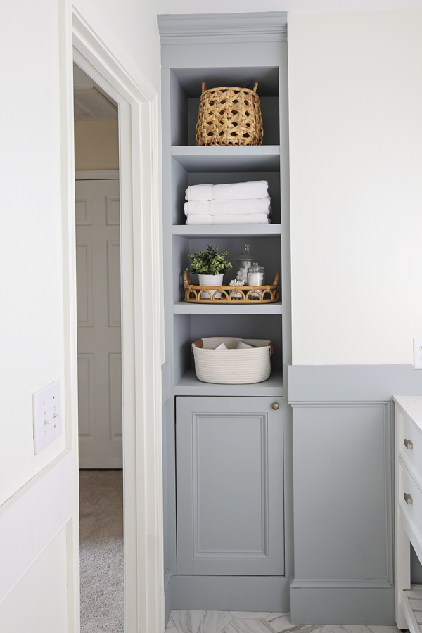 DIY Built In Bathroom Shelves and Cabinet