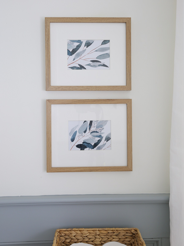 over the toilet decor with framed eucalyptus art prints