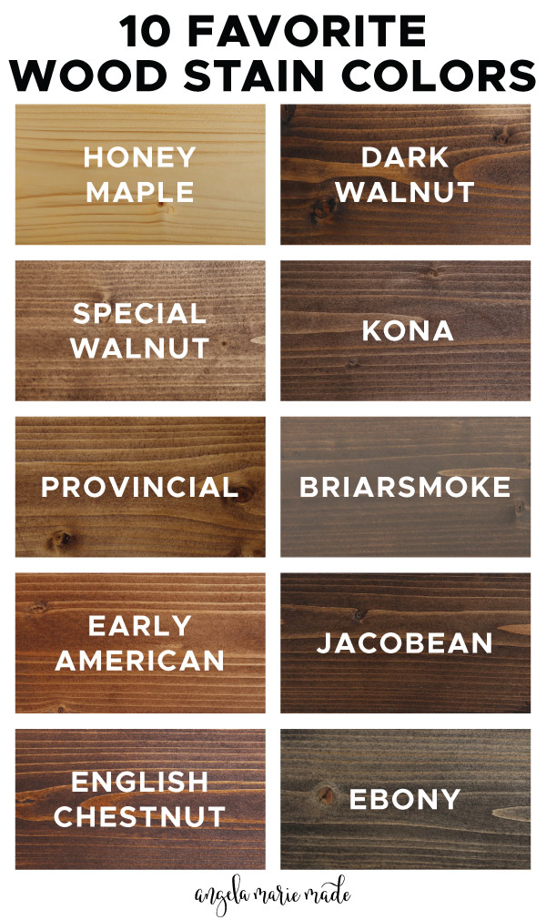 10 Favorite Wood stain colors infographic