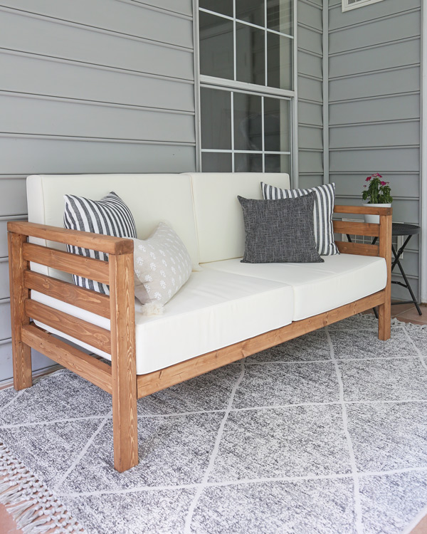 DIY outdoor furniture an outdoor couch in sunroom