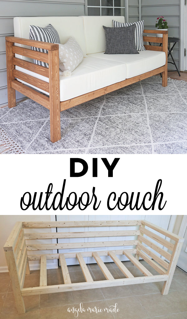 DIY outdoor couch with cushions and without cushions and stain