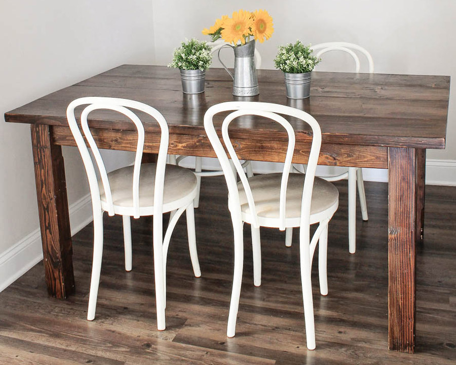 DIY Farm table with Minwax dark walnut stain