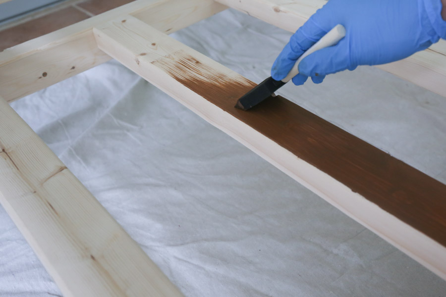 uaing a foam brush to apply stain to larger woood project