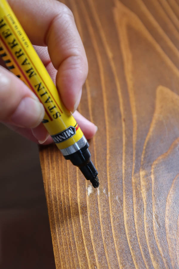using a stain marker to touch up a small spot of wood stain
