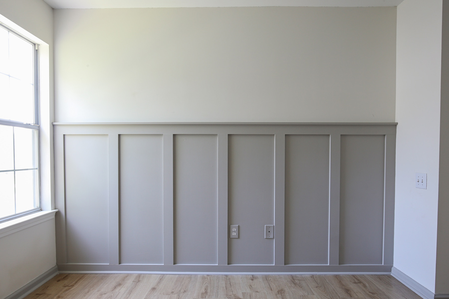 Grey and white painted DIY board and batten accent wall