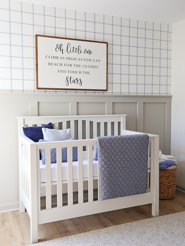 Blue and Gray Nursery with nursery accent wall using board and batten and wallpaper