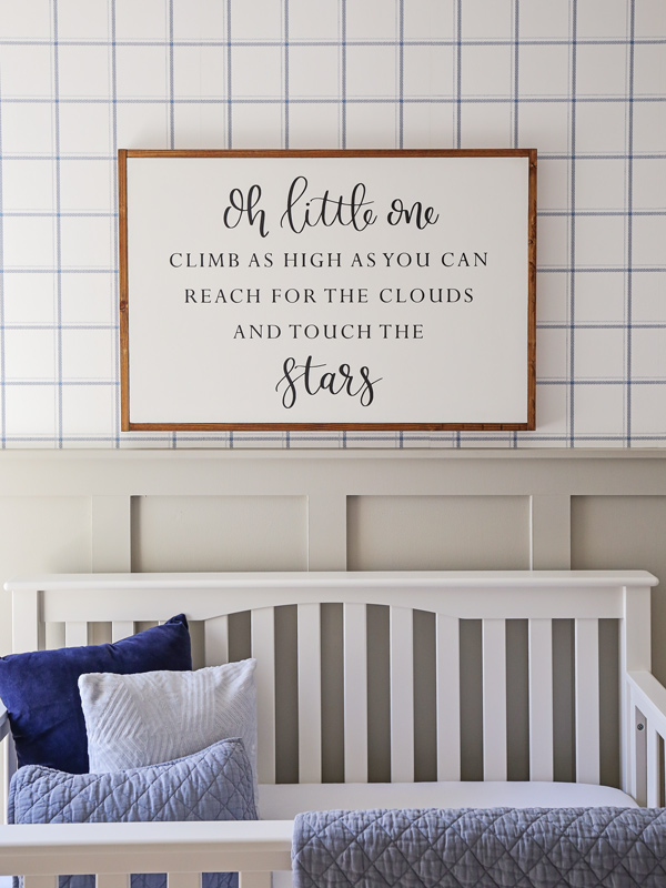 over the crib decor with wood sign over the crib