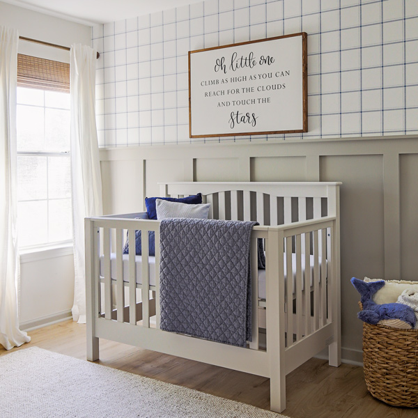 blue and grey nursery decor